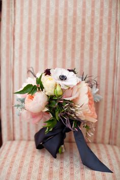 peony, rose and anemone bouquet sprinkled with jasmine and dusty miller by Sullivan Owen, image by Wren & Field #weddingbouquet