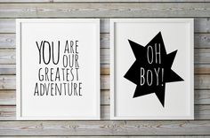 #Childrens Wall Art, Digital Print, You Are Our Greatest #Adventure, Adventure Printable, #Playroom Art, Black and White, #Scandinavian Print by WhitePrintDesign on Etsy