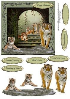 Temple Tigers 3D Quick Card  on Craftsuprint - Add To Basket!