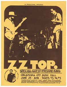 Concert Posters Tulsa Poster Project Archive of Tulsa area Concert Posters Handbills and Flyers Tour Posters, Band Posters, Event Posters, Vintage Concert Posters, Zz Top, Blue Poster, 70s Music, Rock Concert, Rock Legends