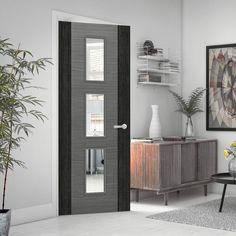 Bespoke Door - Flush Dark Grey Panel - American Light Grey Ash Veneer.    #door #greydoor