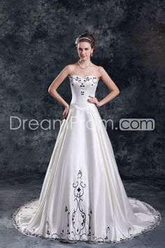 Wedding Dresses A-Line Strapless Sleeveless Natural Lace-up Sweep/Brush TRAIN Organza Embroidery