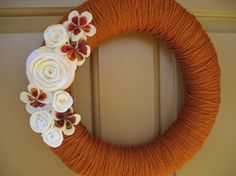 Burnt Orange Yarn Wreath 14 by alexandranoel on Etsy, $45.00