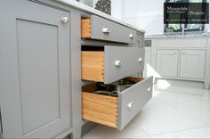 900mm utensil & pan drawer all constructed from Oak with dovetail joints