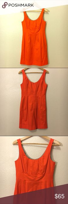 J. Crew Orange, knee length, timeless sun dress Bright and beautiful knee length sun dress with pockets. Worn once, practically new. J. Crew Dresses Strapless