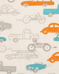 teal and orange vintage car fabric