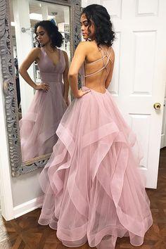 Pink Ruffled Long Prom Dress,Criss Back Prom Dress,Evening Formal Dress #promdress# #prom2019# #promdresslong# #pinkpromdress# #eveningdress# #formaldress# Prom Dresses Long Pink, Straps Prom Dresses, Open Back Prom Dresses, Pretty Prom Dresses, Backless Prom Dresses, Formal Evening Dresses, Ball Dresses, Dress Prom, Dresses Dresses