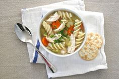 "We love a good Cup 'O Noodles but for a tastier (healthier) meal that's just as lazy and satisfying, we whip up a bowl of this single-serving chicken noodle soup. Think of it as your perfect ""Chicken Soup For The Solo"" diner. Just warm sliced celery and carrot in chicken broth, then add"