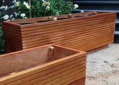 These Mahogany planter boxes come in 10, 20, 30, 40 and 50 gallons sizes that will fit up to five 5 gallon buckets in them. You can also plant