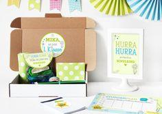 Glückwunschkarten - Einschulungsbox | Geschenkbox Notizblock Grün - ein…