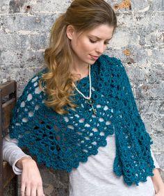 crochet beginner projects | Graceful Shell Shawl Crochet Pattern | Red Heart
