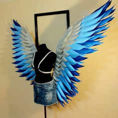 """""""Blue wings"""" Creative Halloween Costumes, Halloween Cosplay, Halloween Outfits, Feather Angel Wings, White Angel Wings, Blue Wings, Silver Wings, Halloween Wings, Angel Wings Costume"""