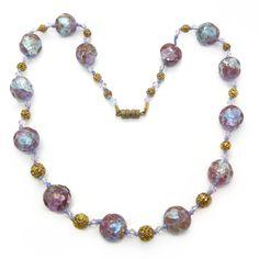 Vintage Art Deco Bohemian Saphiret Foil Glass Bead Necklace | Clarice Jewellery