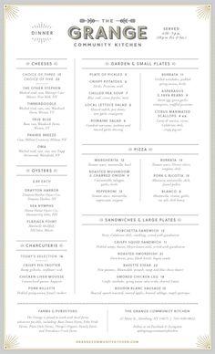 The Grange Menu by Block Club Pizza Menu Design, Drink Menu Design, Cafe Menu Design, Food Design, Design Design, Design Ideas, French Restaurant Menu, Restaurant Menu Design, Restaurant Branding