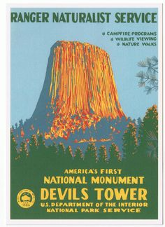 Postcard of Devil's Tower, in Wyoming