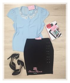 Blusa Crepe Azul Serenity + saia lápis Preta - look trabalho - moda executiva - look by Blessed Moments Ateliê