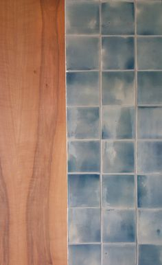Hand painted tiles in the master bath. I was testing for a blue grey and stumbled on this colour and fell in love. Painted Tiles, Hand Painted, Handmade Tiles, Sinks, Master Bath, Blue Grey, Tile Floor, Ceramics, Colour