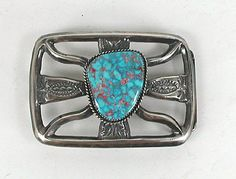 Authentic Native American Sand Cast Sterling Silver and Turquoise belt buckle by Navajo Eugene Mitchell