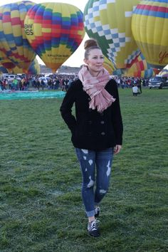 Casual Winter Outfit | cordory pea coat, plaid scarf, distressed jeans, Nike sneakers | See more outfit ideas here: http://www.amodernmomblog.com
