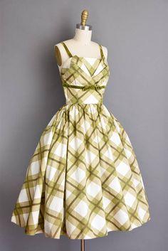 vintage 1950s dress. 50s green polished cotton plaid vintage