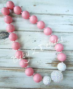Coral Gumball and White Rhinestone Chunky Necklace by babyzdesigns, $18.00