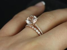 Eloise 9mm & Petite Bubbles 14kt Rose Gold Round Morganite and Diamonds Cathedral Wedding Set (Other metals and stone options available)