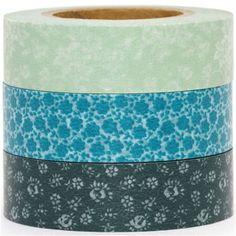 Washi Masking Deco Tape set 3pcs flower pattern green