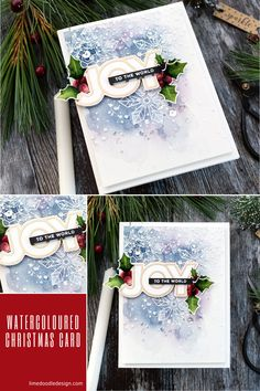 Watercoloured Christmas handmade card tutorial by Debby Hughes using supplies from Simon Says Stamp #watercolor #homemade Modern Christmas Cards, Christmas Cards To Make, Xmas Cards, Handmade Christmas, Homemade Christmas Cards, Christmas Paper, Christmas Ideas, Snowflake Cards, Cardmaking And Papercraft