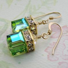 Green Cube Earrings, Peridot, Gold Filled, Apple Swarovski Crystal, Wedding Bridesmaid Jewelry, Handmade, Birthstone August Birthday, Dangle...