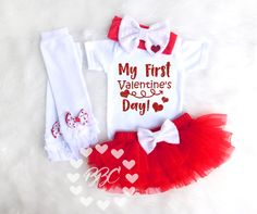 Girl's First Valentines Day, Girls Valentines Outfit, Baby Girl Valentines Day Clothes, Valentines Shirt, Heart Clothing, Red, White, Black by BannahBabyCo on Etsy