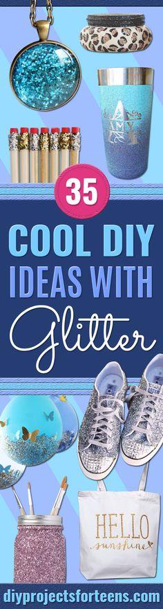 35 DIY Ideen mit Glitzer - DIY-Ideen mit Glitter - Easy Crafts and Projects für Dekoration, Geschenke und Schlafzimmer Decor Crafts For Teens To Make, Diy Projects For Teens, Gifts For Teens, Diy For Teens, Diy Craft Projects, Diy Crafts To Sell, Easy Crafts, Crochet Projects, Glitter Mason Jars