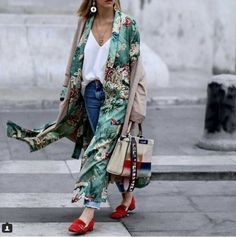 Woman Printed Kimono Coat Contrast Belt Piping Green Long Jacket S M L Hot
