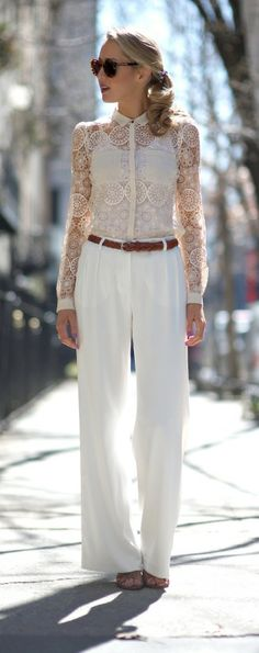 lace blouse + white flowy pleated wide leg pants