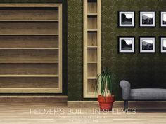 helmer's built in shelves Built In Shelves, Wall Shelves, Sims 4 Cc Furniture Living Rooms, Around The Sims 4, Modular Shelving, Sims House, Sims 3, Clipart, Space Saving