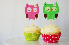 Night Owl Cupcake Toppers by Pinwheel Lane on etsy
