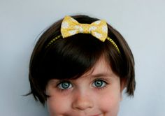 Yellow w/ White Polka Dots Bow Headband