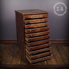 Vintage Industrial 11 Drawer Wooden Print Cabinet Parts Cabinet Printer Cabinet, Printers Drawer, Craft Storage Cabinets, Cabinet Parts, Sewing Room Design, Unique Furniture, Furniture Ideas, Furniture Design, Wood Chest
