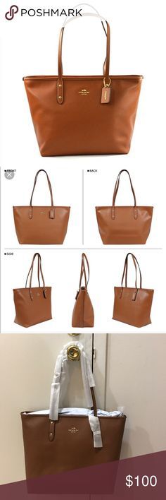 """Coach City Zip Tote in Crossgrain Leather Never used, still w tags, I have the same bag in black and just never got around to using this one. Such an awesome everyday work bag. Zip top closure, handles w 9.5"""" drop, 11.75"""" x 10.5"""" x 5.5"""". Original price is $295. This bag currently retails on Amazon for $145. PRICE FIRM. Color is Saddle. Coach Bags Totes"""