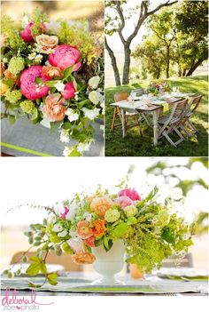 The peonies and ranunculus set against soft spring greens--so beautiful!