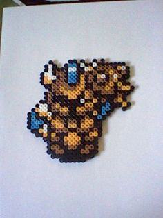 The Legend of Zelda Ball and chain trooper perler bead creation....melted beads with magnet on back.