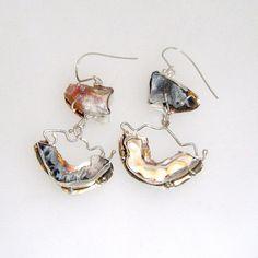 Asymmetrical  Dangle Earrings with Geode by laurastamperdesigns, $155.00
