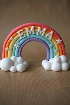 Rainbow fondant cake topper  birthday decorations by Artsysideofme