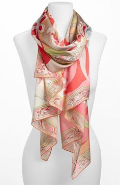 Emilio Pucci 'Evoluzioni' Silk Scarf available at cafsew coours Scarf Knots, Scarf Hat, Ways To Wear A Scarf, How To Wear Scarves, Emilio Pucci, Look Fashion, Fashion Tips, Designer Scarves, Turbans