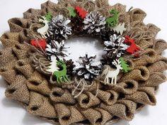 Christmas wreath made of burlap