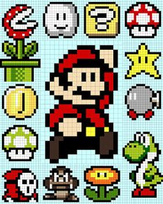 Mario Bros x-stitch Mario Crochet, Pixel Crochet, Crochet Chart, 8 Bit Crochet, Beaded Cross Stitch, Cross Stitch Embroidery, Cross Stitch Patterns, Geek Cross Stitch, Perler Bead Mario