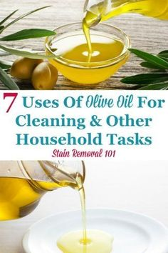 Here are 7 uses of olive oil for around your home, for cleaning and other household tasks {on Stain Removal 101} #UsesOfOliveOil #UsesForOliveOil #OliveOilUses Deep Cleaning Tips, Green Cleaning, House Cleaning Tips, Olive Oil Uses, Mattress Cleaning, Housekeeping Tips, Cooking With Olive Oil, Bathroom Cleaning Hacks, Homemade Cleaning Products