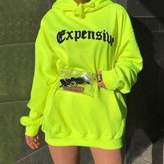 Find More Hoodies & Sweatshirts Information about Fashion Fluorescent Color Long Hoodies Women Sweatshirts Letter Print Long Sleeve Pullovers Streetwe. Teen Fashion Outfits, Edgy Outfits, Cute Casual Outfits, Casual Clothes, Sport Outfits, Hoodie Outfit, Ropa Color Neon, Neon Green Outfits, Neon Party Outfits