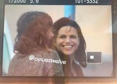 Awesome Lana and Rebecca (Bex) (Regina and Zelena) #Once #BTS Lana and Bex laughing #Steveston Village #Richmond Vancouver BC