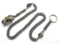 "Men's Tiger Skull Wallet Chain Silver Brass, Stainless Steel Simple Elegance 29""   eBay"