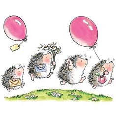 Cute illustrations - (✿´ ꒳ ` )ノ                                                          By Penny Black: Party Time For The Hedge Hogs